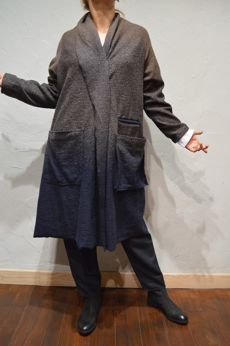 veste longue marron et bleu kokomarina c0010427 kokomarina mitaka mode et boutique. Black Bedroom Furniture Sets. Home Design Ideas