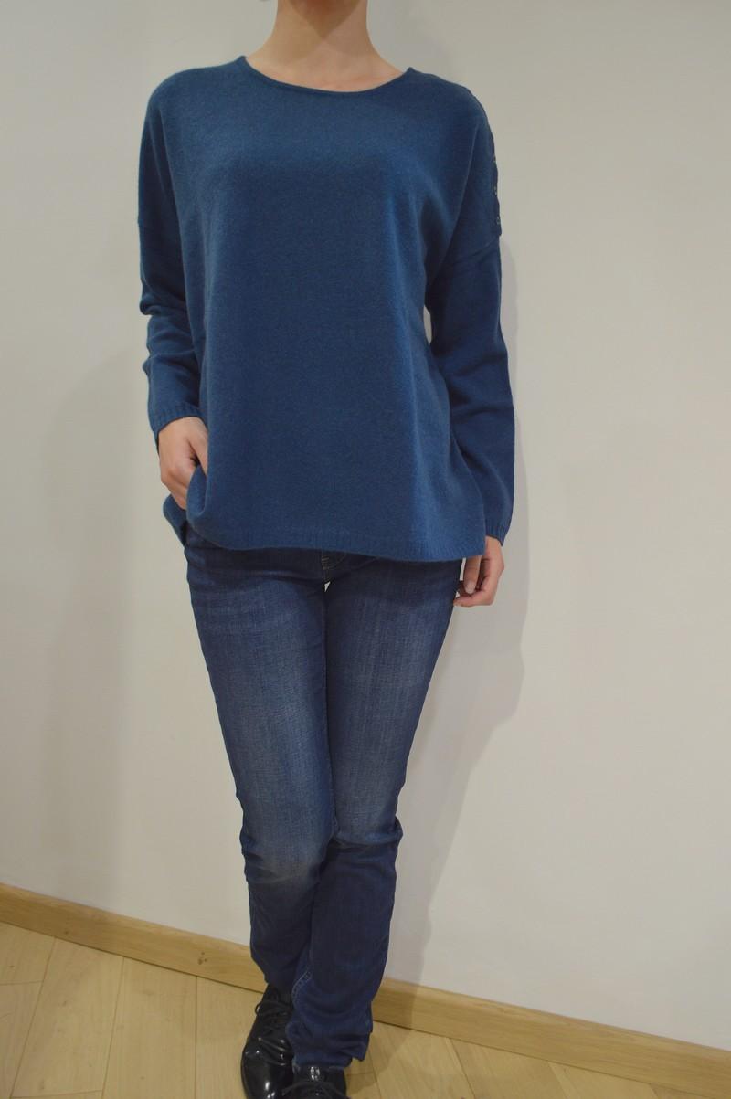pull ample en cachemire de couleur bleu canard pour femme. Black Bedroom Furniture Sets. Home Design Ideas