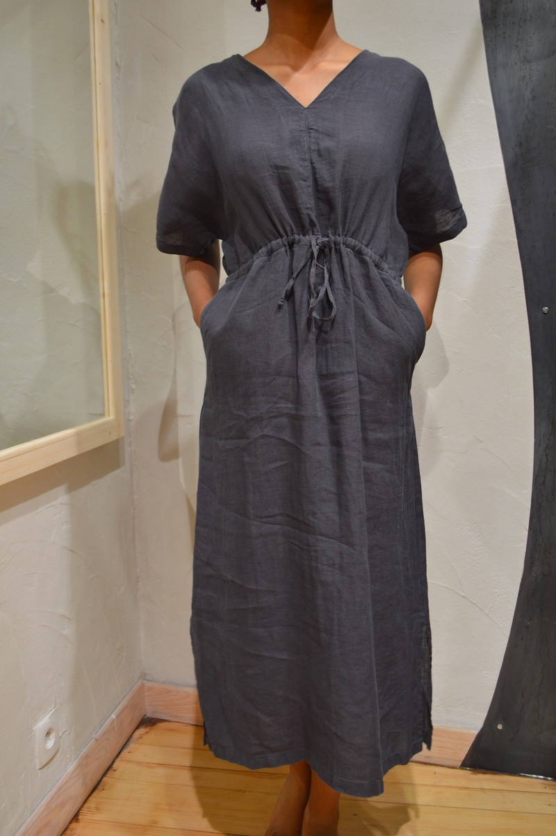 Robe longue manches courtes anthracite